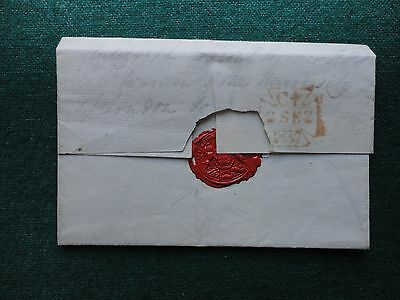 Pre Stamp Cover 1837 to Preston with Inspector of Factories Wax Seal