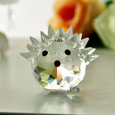 Crystal Clear Hedgehog Paperweight Cut Glass Wedding Favor Ornament Lady Gifts