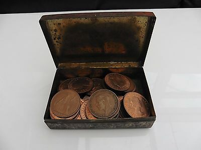 Vintage Tin of 45 Old One Pennys House Clearance