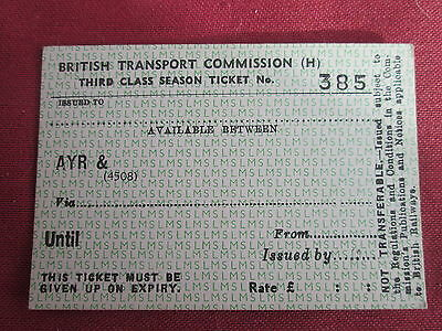 LMS Third Class Season Ticket unissued from Ayr