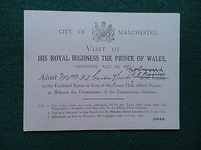 Ticket Invitation Invite King Edward VIII as Prince of Wales Manchester 1921