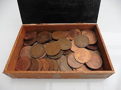 Vintage box of 85 Old One Pennys House Clearance