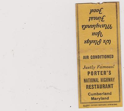 Porter's Restaurant-Cumberland,md Matchbook Cover Free Shipping U.s