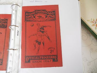 football programme arsenal v west bromwich albion 1936/37