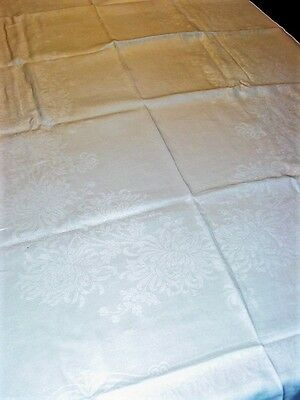 """Vtg.1940's Damask Linen Tablecloth White Mums&GreekKey 52x82""""Hemstitched!ExCond!"""