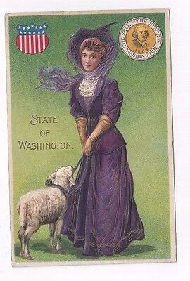 WA antique 1910 post card State of Washington Pretty Victorian Lady and Sheep