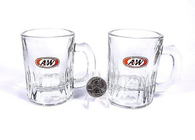 """PAIR  of  MINIATURE  ( 3 fluid ounces each )  GLASS  """"A & W""""  ROOT BEER  MUGS"""