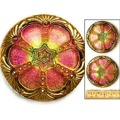 GLOWING XL 42mm Vintage Czech Glass Pink Green FIRE AB Faceted WINDOW Button 1p