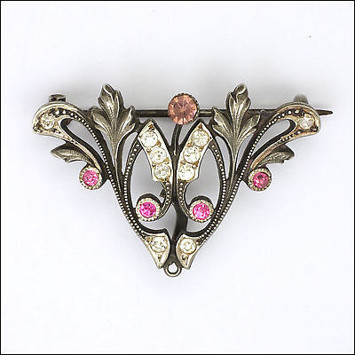French Art Nouveau Silver and Pastes Brooch