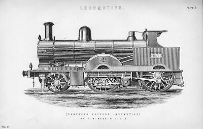 1880's illustration of compound express  locomotive