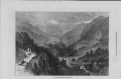 1871 original  illustration titled : the dora valley mont cenis railway