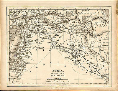 1828 map of syria- mesopotamia  - engraved and published by j.vincent of oxford