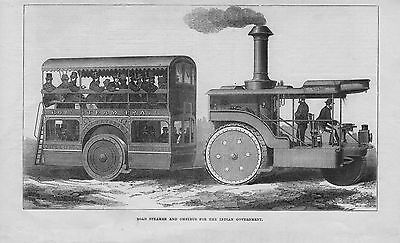 1871 illustration: road steamer & omnibus for the indian goverment