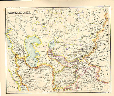 """1890 small map of  """" central asia  """" by john bartholomew 1890"""