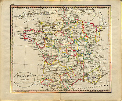 "1790s original  map of "" france divided into military goverments """