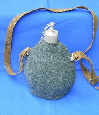 RARE Military Aluminium CANTEEN Water BOTTLE FLASK + Cover