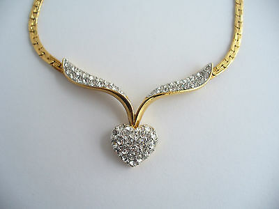 Vintage A&S Signed Attwood & Sawyer Gold Plated & Crystal Heart Necklace