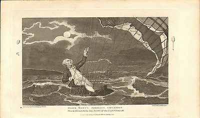 major monty's perilous situation ( yarmouth 1785 ) . 1821 engraving !