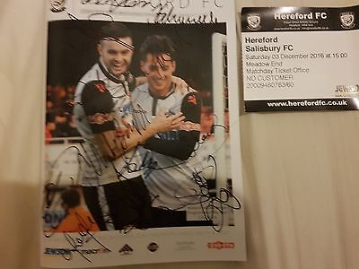 2016-17 Hereford Fc V Salisbury Fully Autographed Signed By Hereford Sell Out