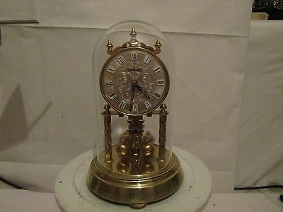 Brass German Glass Domed Hermle wind up Working Clock