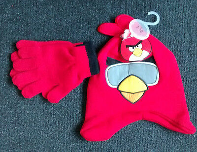 ANGRY BIRDS BOY'S RED 'ANGRY BIRDS' KNITTED HAT & GLOVES SET 7-10 years