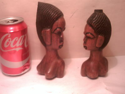 2 carved wood african female busts