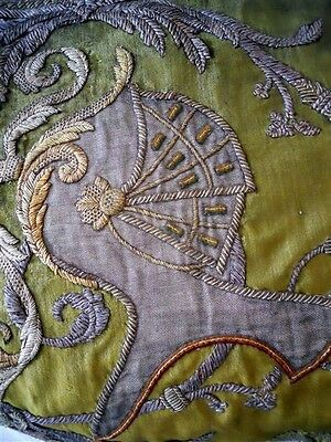 Antique French Armor Metallic  Embroidery On Silk  Velvet 19Th Chateau