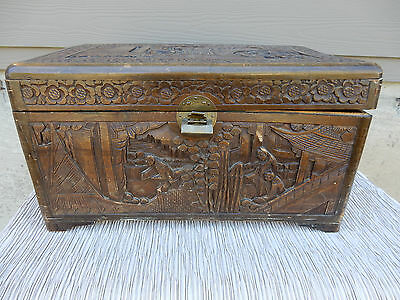 Asian China Camphor Wood Hand Carved Chest Box  Dark Stain carved men at work