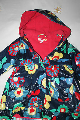 Girls M & S Fleece Lined Hooded Colourful Floral Shower Proof Coat 1.5- 2 Years