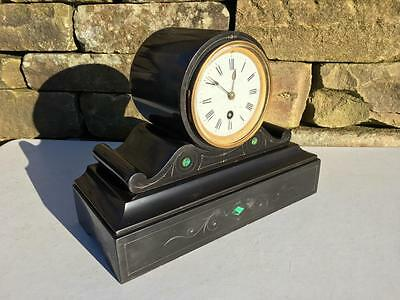 Small Antique Drum Head Black Slate Marble & Malachite Timepiece Mantle Clock