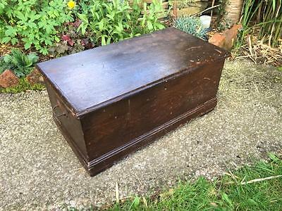 Vintage Antique Victorian Original Distressed Scumble Pine Tool Box Chest Trunk