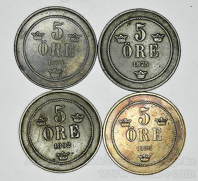 Sweden 5 Ore 1874 1875 1892 1898 4 Coin Lot Nice Group