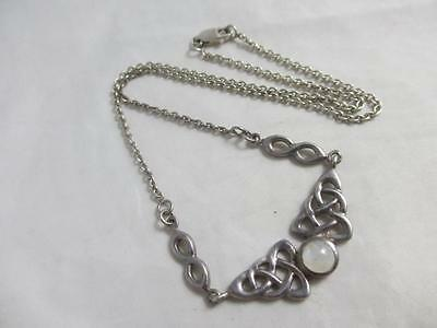 Vintage c1980 sterling silver moonstone pendant necklace E3573