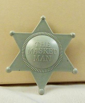 """Vintage Gray Plastic Sheriff  Star """"The Masked Man"""" Play Badge Clip"""