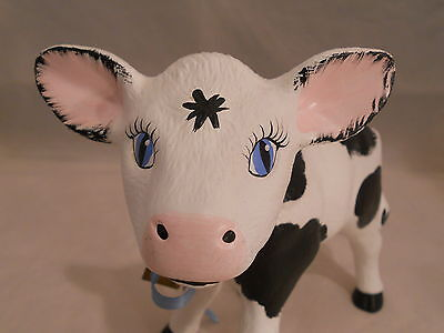Vintage 1970s Handpainted Ceramic Cow Figurine Black & White With Bell