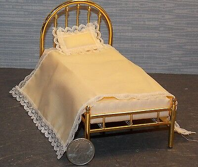 Dollhouse Miniature Brass Bed Single 1:12  one inch scale F14 Dollys Gallery