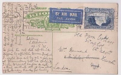 Stamp Southern Rhodesia 3d blue on 1935 Victoria Falls postcard airmail England