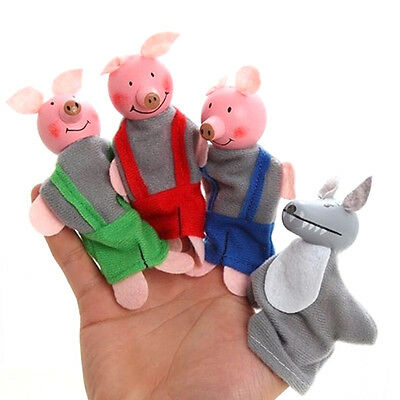 4 Pcs/set Three Little Pigs Finger Puppets Wooden Headed Baby Educational Toy TO
