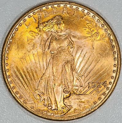 1924 Uncirculated $20 Saint Gaudens Gold Double Eagle Item#A5896