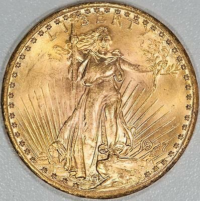1927 Uncirculated $20 Saint Gaudens Gold Double Eagle Item#A5898