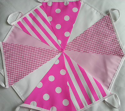 10 FEET / 3M Girls birthday IN THE PINK Handmade Fabric Bunting Hen Party Banner
