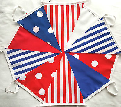 RED WHITE & BLUE Polka Stripe Mix Handmade Fabric Party Bunting 10 ft/ 3m Banner