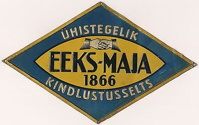 1920s Russia Estonia Estonian EEKS-MAJA INSURANCE SOCIETY Tin Plaque Sign