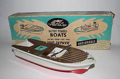1960's Fleet Line Battery Operated Pond Boat, The Zephyr, Nice with Box