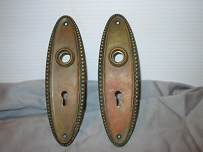 2 Vintage Door Knob back plates with Skeleton Key Lock holes 7""