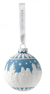 Wedgwood Visiting Santa Bauble Blue Porcelain Christmas Ornament Decoration New