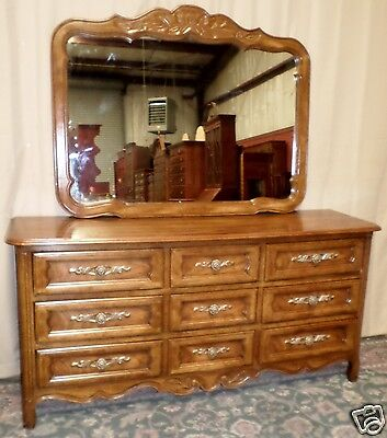 DREXEL TRIPLE DRESSER WITH MIRROR Cabernet French Provincial Style VINTAGE