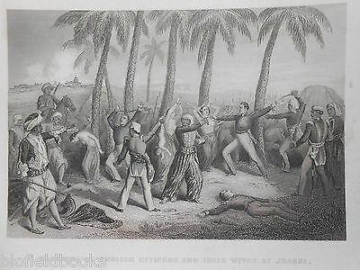 Antiquarian Print; Jhansi English Officers & Wives Massacre, c1858 Indian Mutiny