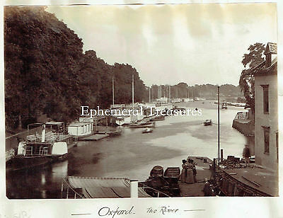 Oxford from the river, Oxfordshire - Superb 1890s Albumen Photograph
