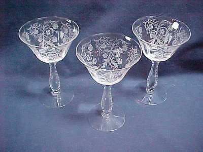 Fostoria Heather Champagnes Or High Sherbets ( 3 )